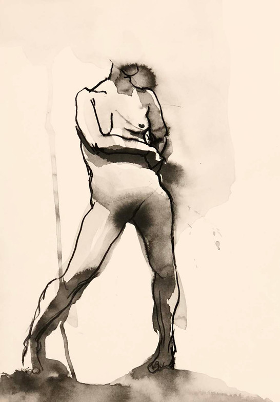 Elnaz-Haghghi_Drawing_Nudes_30x40_Charcoal and ink on paper_2018-2