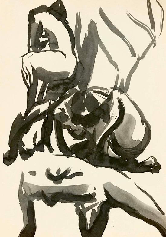 Elnaz-Haghghi_Drawing_Nudes_30x40_Ink on paper_2018-12