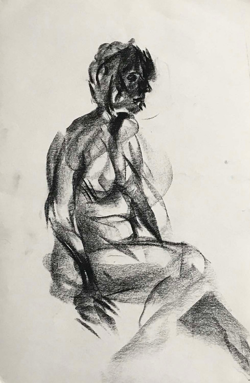 Elnaz-Haghghi_Drawing_Nudes_30x40_Charcoal on paper_2018-4