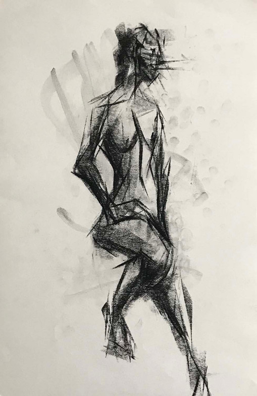 Elnaz-Haghghi_Drawing_Nudes_30x40_Charcoal on paper_2018-2