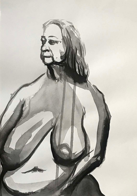 Elnaz-Haghghi_Drawing_Nudes_30x40_Ink on paper_2018-7