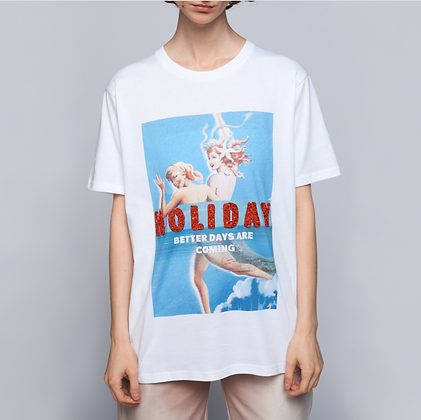 MERMAID ON HOLIDAY T-SHIRT - WHITE
