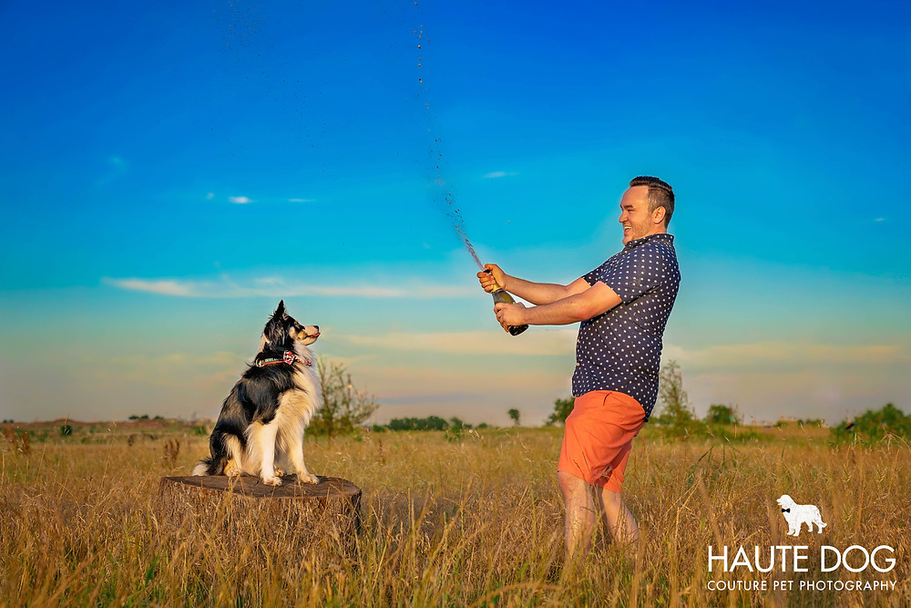 K9 Cinemas dog friendly theaters founder Eric Lankford pops champagne with his rescue dog Bear by Dallas dog photographer Haute Dog