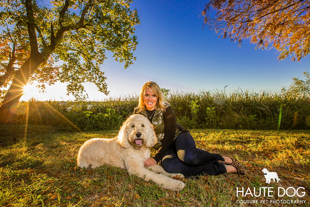 Dallas pet photographer Goldendoodle at White Rock Lake