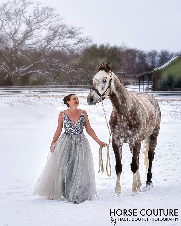 Dallas equine photographer in the snow wearing princess dress