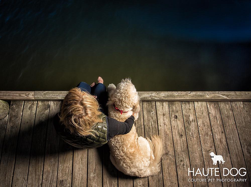 Dallas pet photographer goldendoodle at White Rock Lake