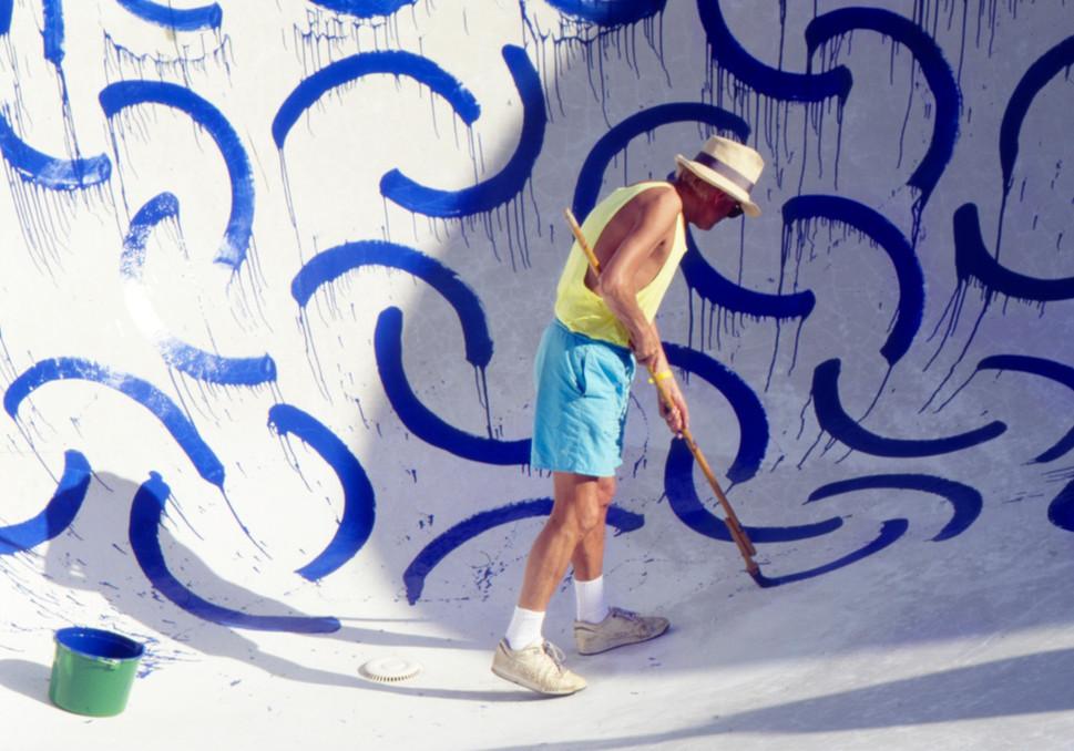David Hockney Painting Swimming Pool, 1993