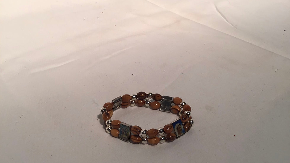 Double Olive Wood Bracelet