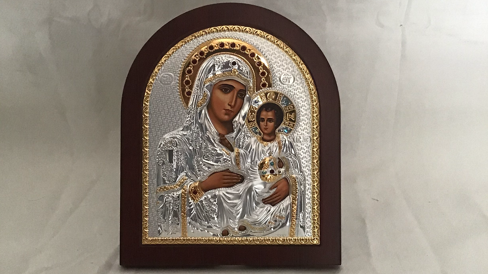 Virgin Mary with Jesus Silver Icon
