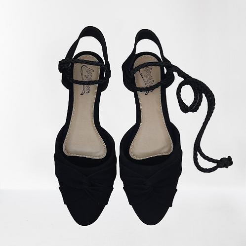 Sandália com corda - Preto