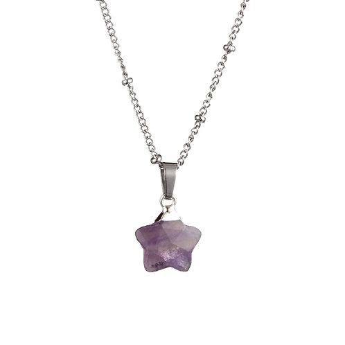 Star Purple Quartz Necklace Silver