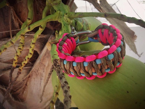 Paracord bracelet - fluo pink / army print / turquoise / taupe