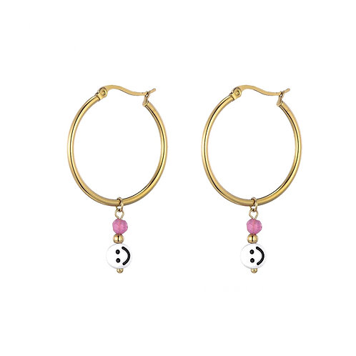 Hoops Smiley Pink Gold