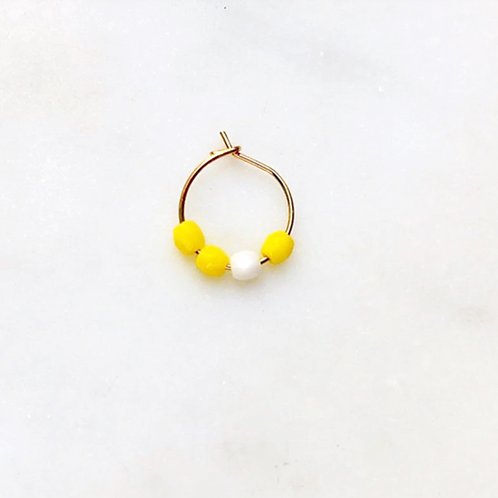 Earring Thin Neon Yellow Bead By☆Nouck