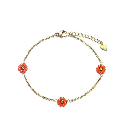 Anklet Daisy Coral Gold