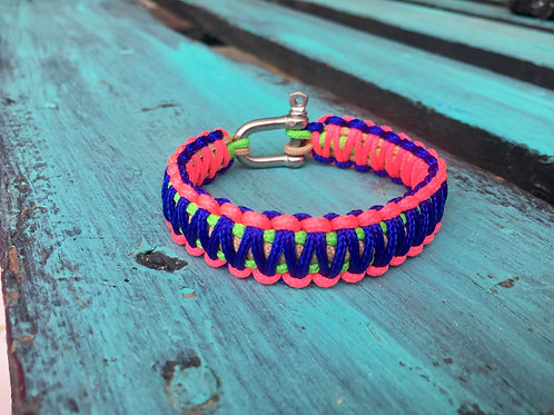 Paracord bracelet - Neon Green / Taupe / Electric Blue / Neon Pink