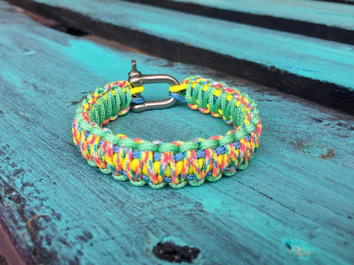 Paracord bracelet - Candy Cane / Mint Green / Yellow / Baby Blue