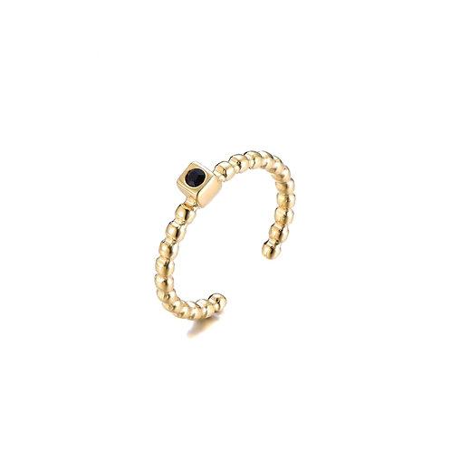 Dot Ring Black Gold