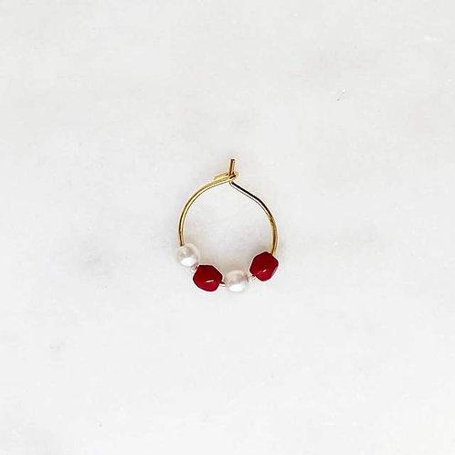 Thin Earring Pearl Bordeaux By☆Nouck
