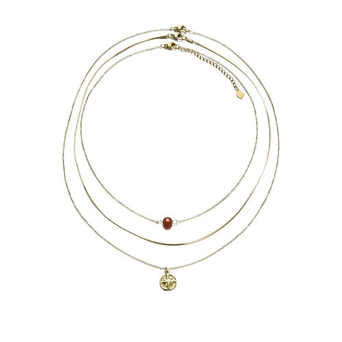 3 in 1 Agate Necklace Gold