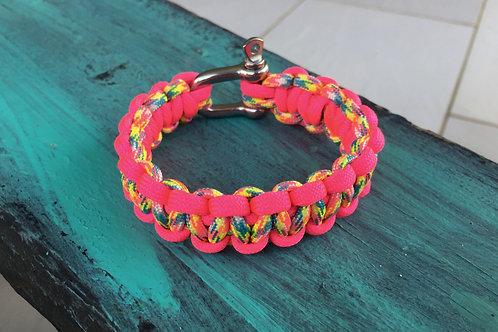 Paracord Bracelet - Candy Cane / Neon Pink