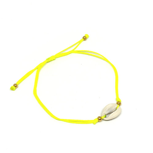 Simple Shell Neon Yellow Anklet