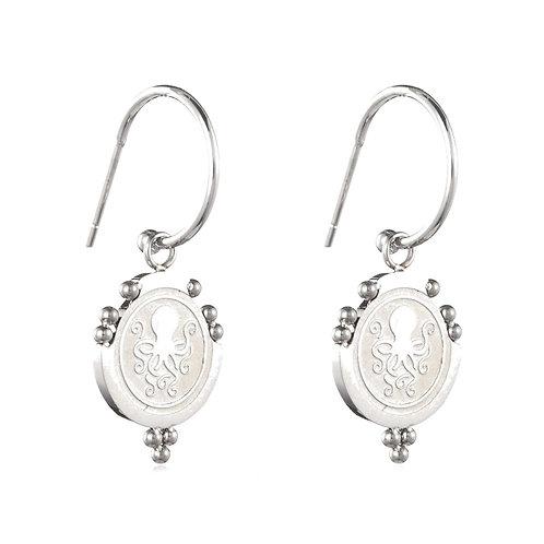 Octopus Earrings Silver