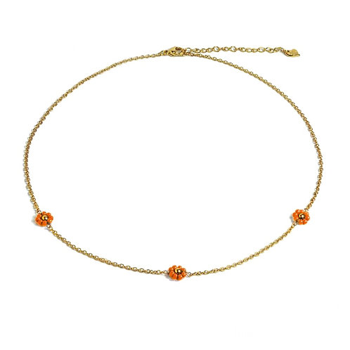 Daisy Coral Necklace Gold