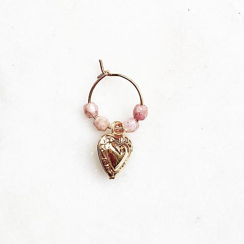 Thin Earring Pink Hart By☆Nouck
