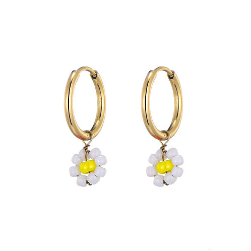 Hoops Daisy White Gold