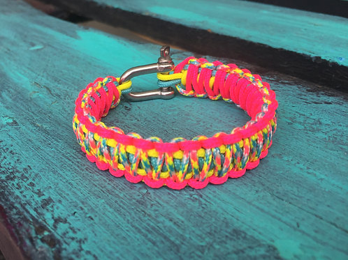 Paracord bracelet - Candy Cane / Neon Pink / Neon Yellow /Turquoise