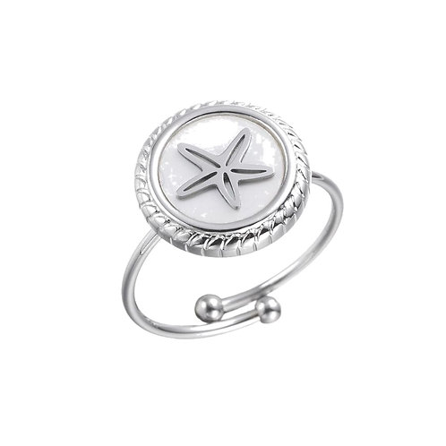 Ring Starfish White  Silver