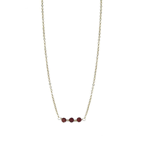 3 Dots Red / Gold Necklace
