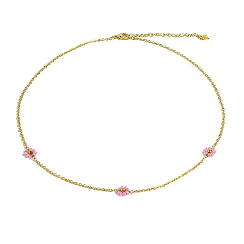 Daisy Pink Necklace Gold