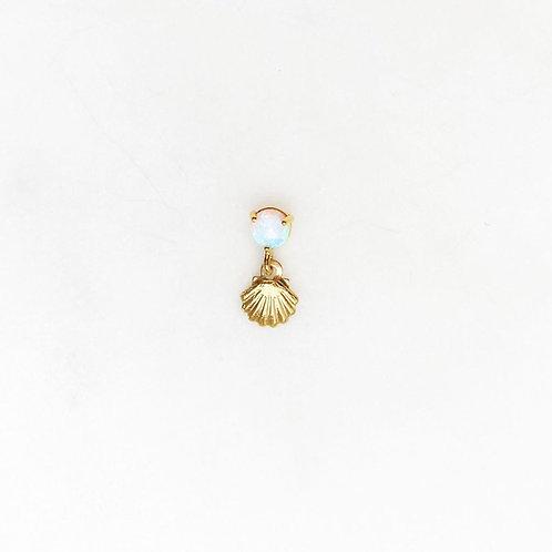 Opal Mini Shell Earpin By☆Nouck