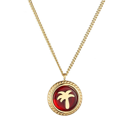 Palmtree Necklace Gold / Red