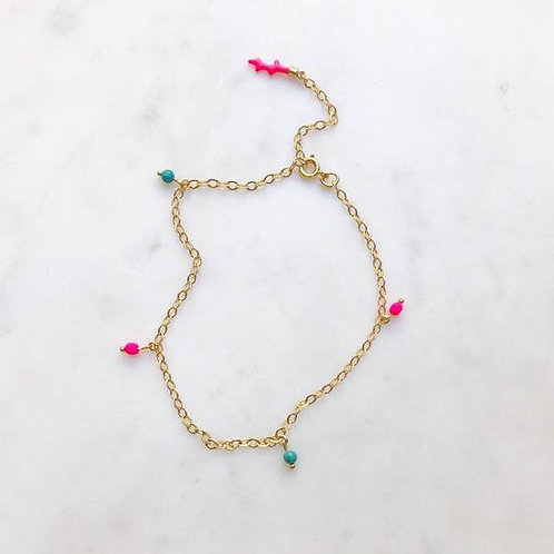 Turquoise Pink Anklet By☆Nouck