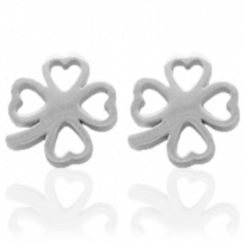 Clover stainless steel earrings (silver)
