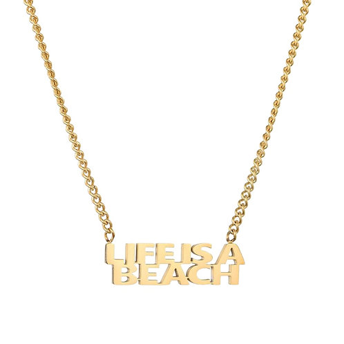 Life Is A Beach Necklace Gold