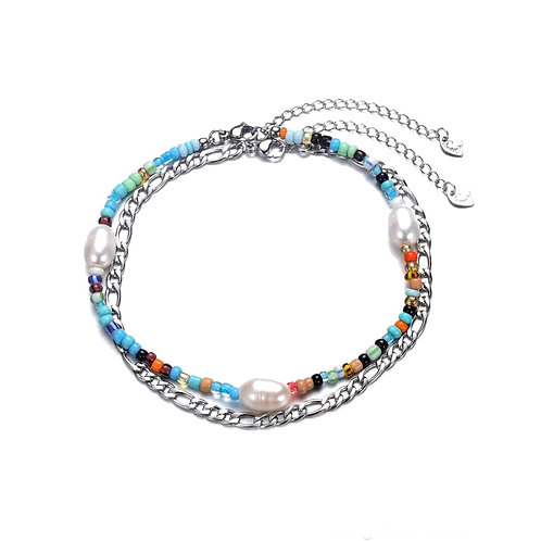 Anklet Double Blue Silver