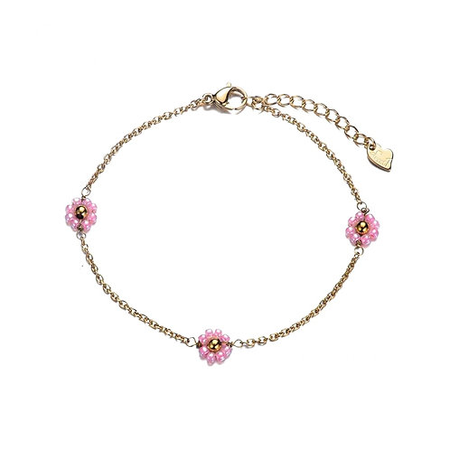 Anklet Daisy Pink Gold