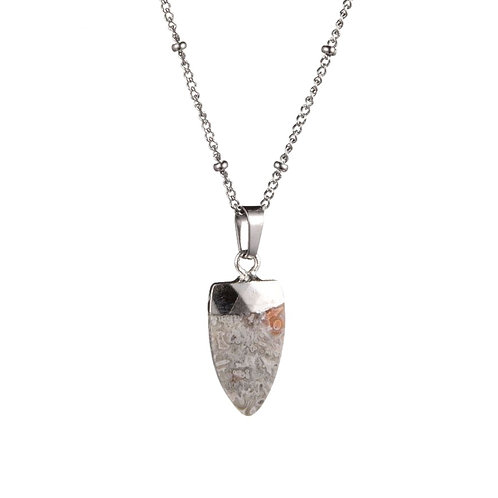 Tooth White Agate Necklace Silver