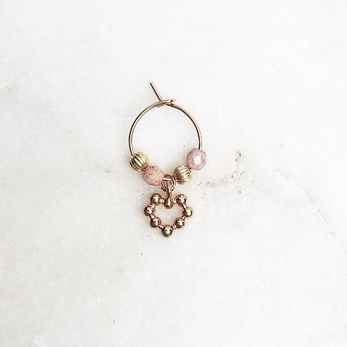 Thin Earring Gold Pink Heart By☆Nouck