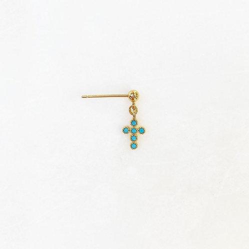 Earpin Turquoise Diamond Cross By☆Nouck