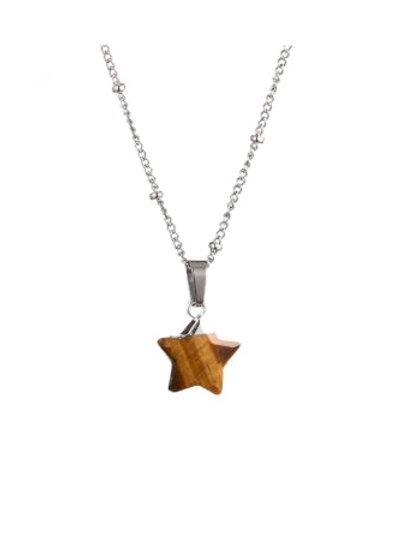 Star Tiger eye Necklace Silver
