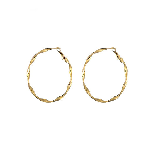 Hoops Twisted 50mm Gold
