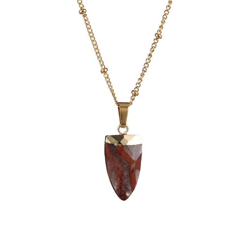 Tooth Agate Necklace Gold