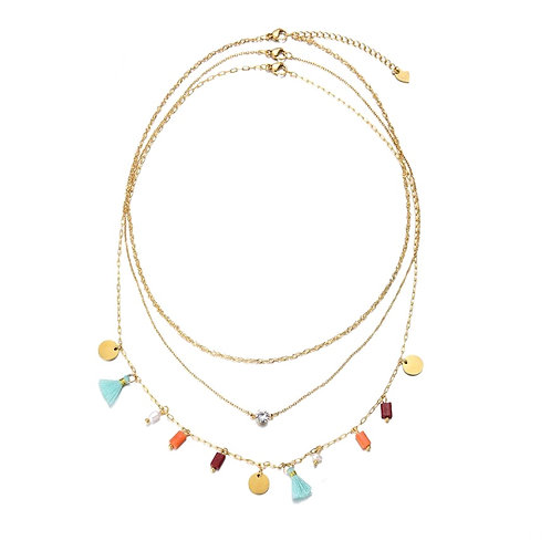 3 in 1 Tassle Necklace Gold