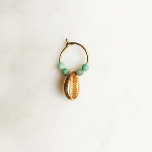 Thin Earring Turquoise Shell By☆Nouck