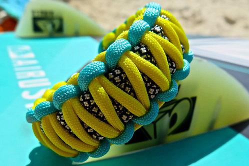 Paracord bracelet - fluo yellow / turquoise / diamond black
